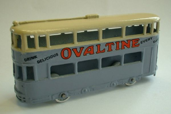A DINKY TOYS COPY MODEL 27 TRAM IN BLUE - OVALTINE